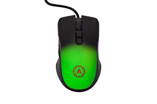 Gaming Mouse - Ratón para videojuegos (1000 Hz, 1 ms, 10000 ppp, con cable, 7 botones programables, software dedicado (sombra verde neón)