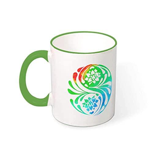 N\A Taza de café Colorida del Loto de la Yoga Taza de cerámica Impresa Divertida de la Bebida de la Taza del Regalo Presente para el Padre de la Madre