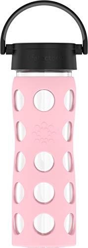 Lifefactory Glas Trinkflasche mit Silikon-Schutzhülle, BPA-frei, auslaufsicher, spülmaschinenfest, 475ml, rosa