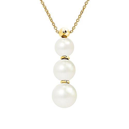 Pearls & Colors AM-WH-R789J 9CC 109 - Collana in oro giallo 9 ct, con perle d'acqua dolce, lunghezza 42 cm