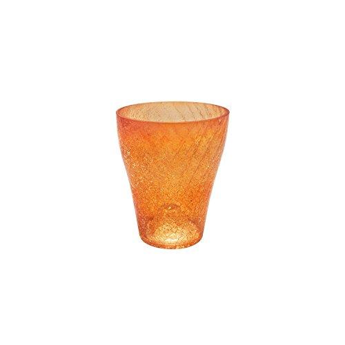 Cache pot céramique serie Orchid de POLNIX transparent orange diametre 7.5 cm hauteur 9 cm