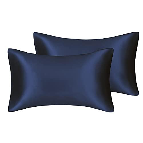 ZZLLFF 1pair Pillowcase Pink Silky Satin Funda de Almohada de Naturaleza Funda para Almohada para el hogar Estándar Reina Rey Cubierta de Almohada (Color : 1Pair Navy Blue, Size : King20x36in)