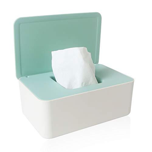 Aufbewahrungsbox für Feuchttücher, Baby Feuchttücherbox Baby Tücher Fall Toilettenpapier Box für trockene und nasse Seidenpapier Serviettenhalter Feuchttücher (weiß + grün)