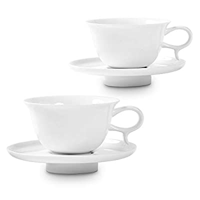 ZENS Porcelain Cappuccino Cups and Saucer Set, Pure White Bone China Teacup 7.4 Ounce of 2 with Gold Trim for Coffee Latte, Espresso