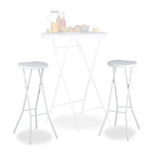 Relaxdays Bastian - Taburete de Bar Plegable Impermeable, 80cm de Altura, Plástico, color Blanco, 2 Unidades (solo taburetes sin mesa)