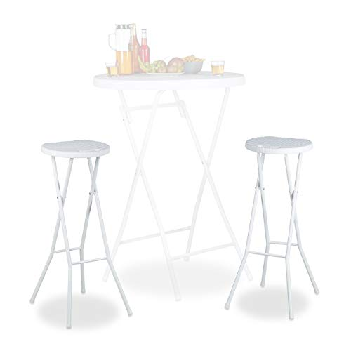 Relaxdays Bastian - Taburete de Bar Plegable Impermeable, 80 cm de Altura, Plástico, color Blanco,