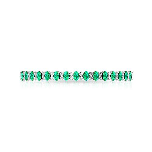 Pulsera Bolo de diamante con forma ovalada de esmeralda, certificado IGI, color verde natural, piedra natal de mayo, para novias, bodas, mujeres, pulseras de cadena apilables, 18K Oro blanco