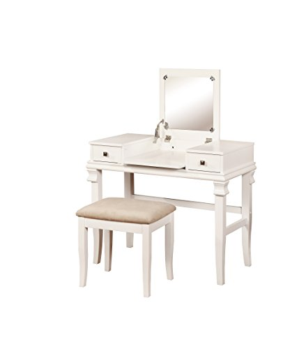 Linon Angela Vanity Set, White, 30' x 36' x 18',