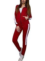 Abetteric Womens Stylish 2 Piece Tracksuit Cozy Hoodie and Sweat Pants Set