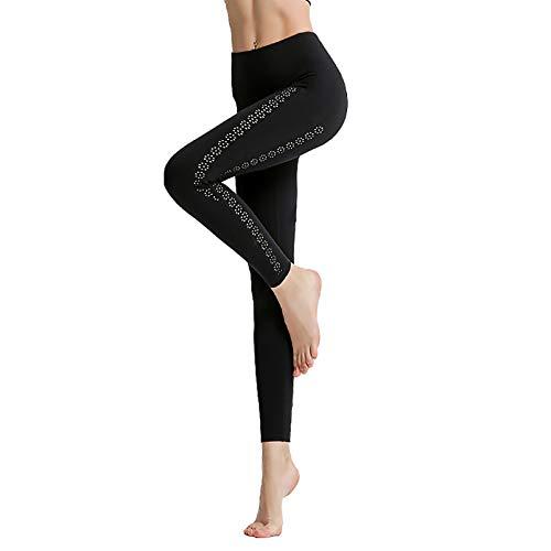 HOUWENJ Mujeres con Pantalones Cintura Alta Bolsillo, Mujeres Pantalones Cadera Pantalones Cadera Fitness Running Secado Rápido Pantalones De Yoga Apretados Black-M