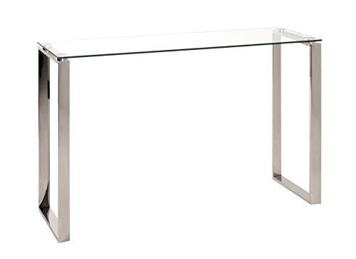 Haku Highboard BZW. Glaskonsole in Edelstahl glänzend und Sicherheitsklarglas 8mm; Maße (B/T/H) in cm: 120x40x78