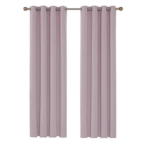 Deconovo Cortinas Opacas de Salón Dormitorio Térmica Aislante y Ruido Reducción con Ollaos 2 Piezas 135 x 240 cm Rosa
