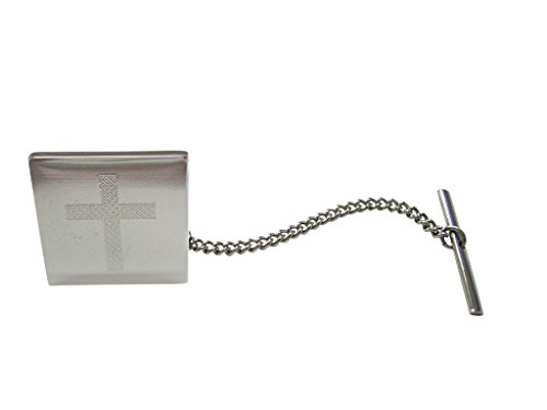 Silver Toned Etched Thick Religious Cross Tie Tack