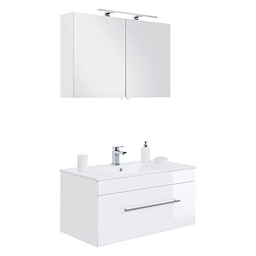 Lomadox Badezimmer Waschplatz Set in Hochglanz weiß, 100cm Waschtisch mit Unterschrank mit Softclose-Auszug, LED-Spiegelschrank, B/H/T 100/195/47,5cm