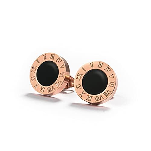 Pendientes de declaración sencillos Pendientes de botón de acero inoxidable para mujer Pendientes pequeños de cristal con números romanos vintage Joyas-Oro rosa Negro