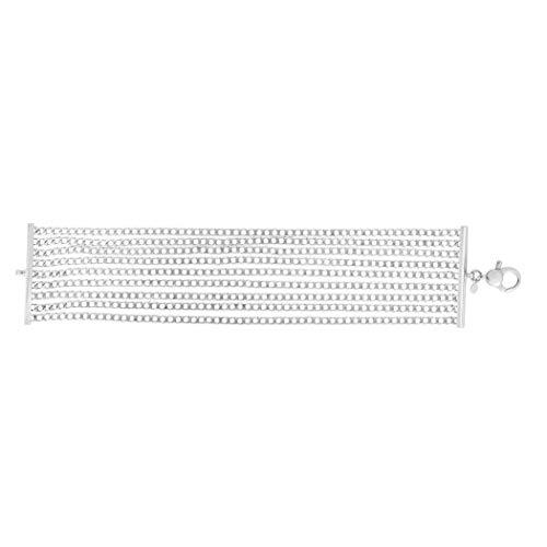 JewelryWeb Bracelet Multi-Rangs avec Fermoir Mousqueton Argent Finition Rhodium 39,5 mm 20 cm