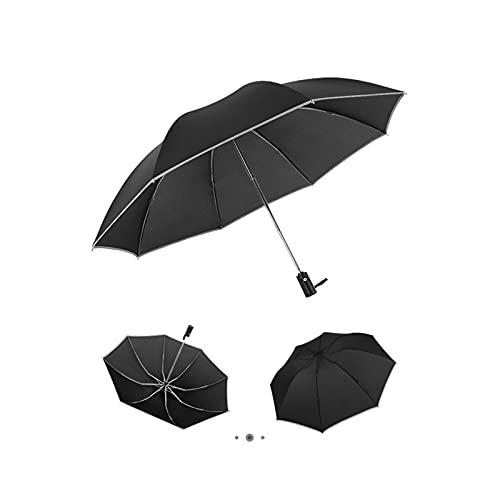 LYB Paraguas Automáticas Inversión De Paraguas De Negocios con Tiras Reflectantes Guarda Chuva (Color : Black)