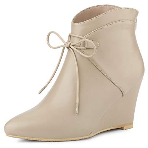 Allegra K Women's Pointed Toe Zip Wedge Heel Ankle Boots Beige Wedge Boots - 9 M US