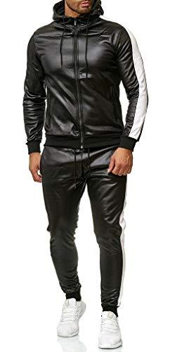 MEIGUI Herren Motorrad Trainingsanzug Set, PU-Leder-Reißverschluss Hoodie Joggers Hosen Patchwork-Gymness-Sweat-Anzug White-L