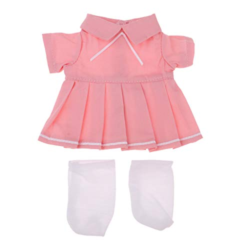 Hellery Lindo Traje de Calcetines de Vestir Plisados para Mellchan 9-11 'Reborn Girl Baby Dolls Ropa - Rosado