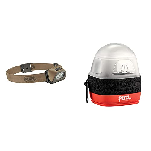 PETZL Tactikka + RGB Torcia A Fascia LED Grigio & Noctilight - Custodia Protettiva, Nero/Arancione
