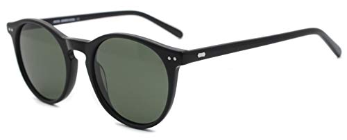 MOSTAR Gafas de sol negras con lentes protección UV400 polarizadas con montura resistente de acetato redondo clásico