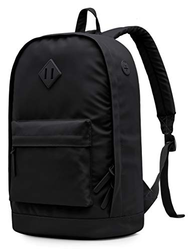 936Plus Wasserabweisender Rucksack Laptop Büchertasche für Schule, Hochschule, Uni, mit 12 Taschen, Schwarz
