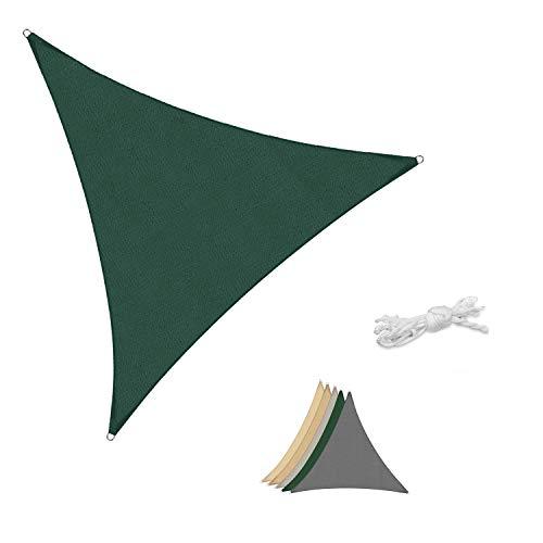 Sekey Sonnensegel Sonnenschutz Dreieckiges HDPE Durchlässig Atmungsaktiv Tear Resistant Wetterschutz UV-Schutz, für Outdoor Garten Terrasse, mit Seilen, 3×3×3m Grün