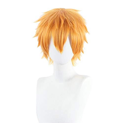 Cvthfyky Cosplay, pelucas sintéticas de pelo corto y rizado de alta temperatura de fibra resistente Rose pelucas de la red for el Tema Carnaval del partido del traje