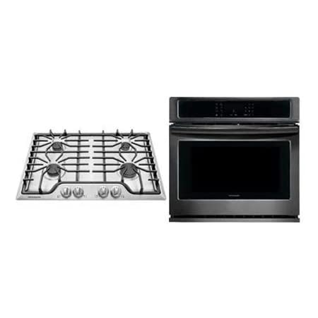 Frigidaire 2-Piece Kitchen Package with FFEW3026TD 30 Electric Single Wall Oven and FFGC3026SS 30 Gas Cooktop