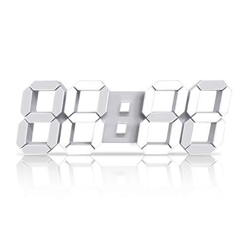 Cardking 3D LED Digital Wall Clock 15'' Remote Control Nightlight Clock Adjustable Brightness...