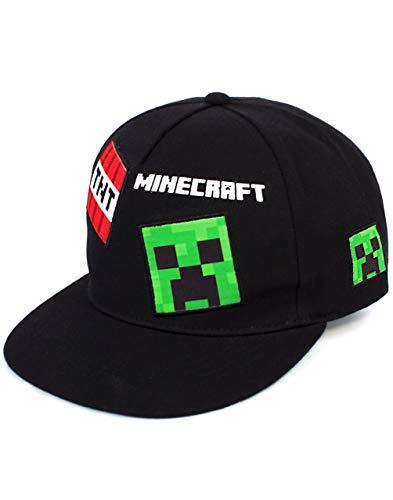 Minecraft Cap Boys Kinder Grün Schwarz One Size Creeper Snapback Hat