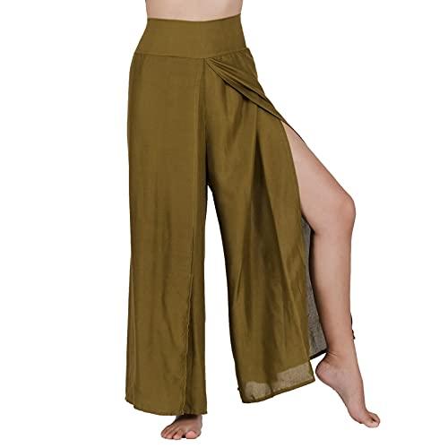 Lofbaz Slit Leg Palazzo Pantalones de Yoga para Mujeres niñas Maternidad Verano Playa Pijama de Cintura Alta Boho Harem Sólido Verde M