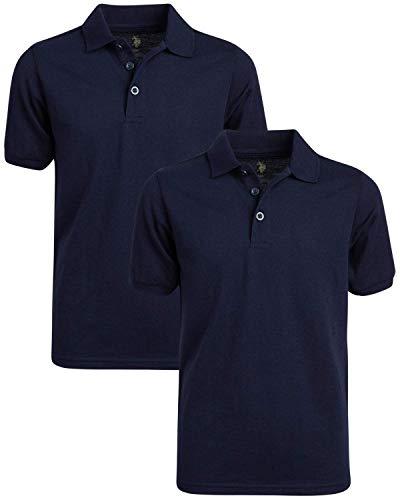 U.S. Polo Assn. Boys' School Uniform Shirt - Pique Short Sleeve Polo T-Shirt (2 Pack), Size 14/16, Navy