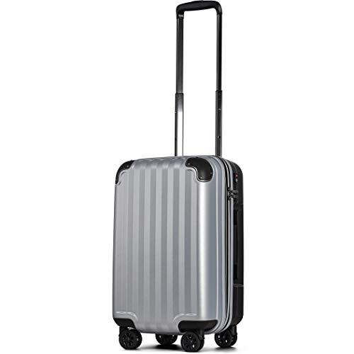 スーツケース 機内持込 300円コインロッカー 軽量 8輪 ダブルキャスター TSAロック ss s 小型 ハードキャリー ファスナータイプ キャリーバッグ キャリーケース (Sサイズ(機内持込36L〜40L), シルバーS)