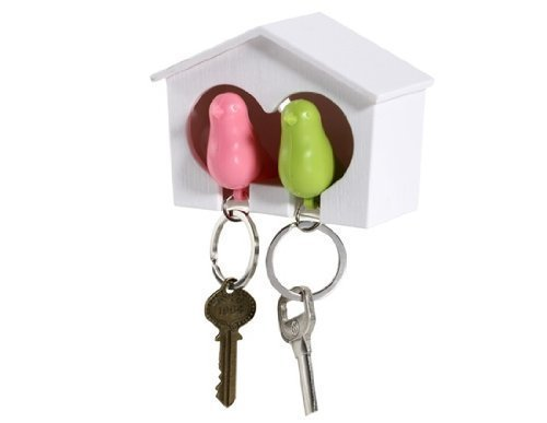 CUGBO  White Birdhouse with 2 Whistle Sparrow Key Ring Holder (Pink and Green)