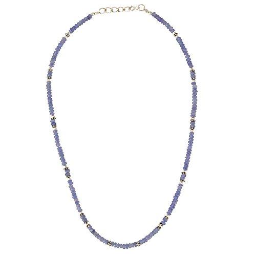 Silverly Collar Mujeres en Plata de Ley .925 Piedra Preciosa Tanzanite Lila Flores, 44+2 cm Extender
