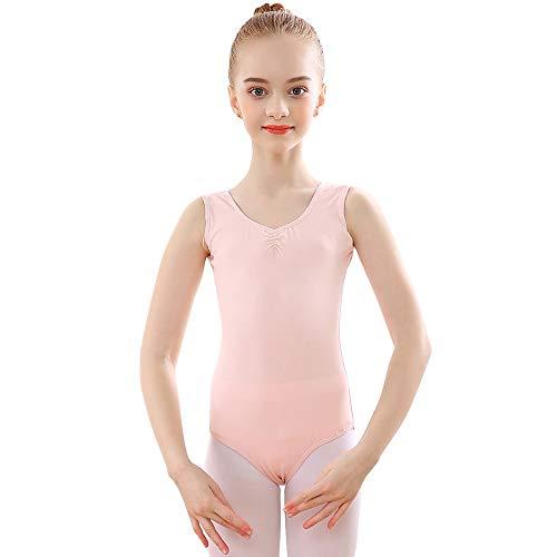 Balletttrikot Ballettanzug Ärmellos Ballettkleid aus Baumwolle fur Kinder Mädchen Damen Rosa 170
