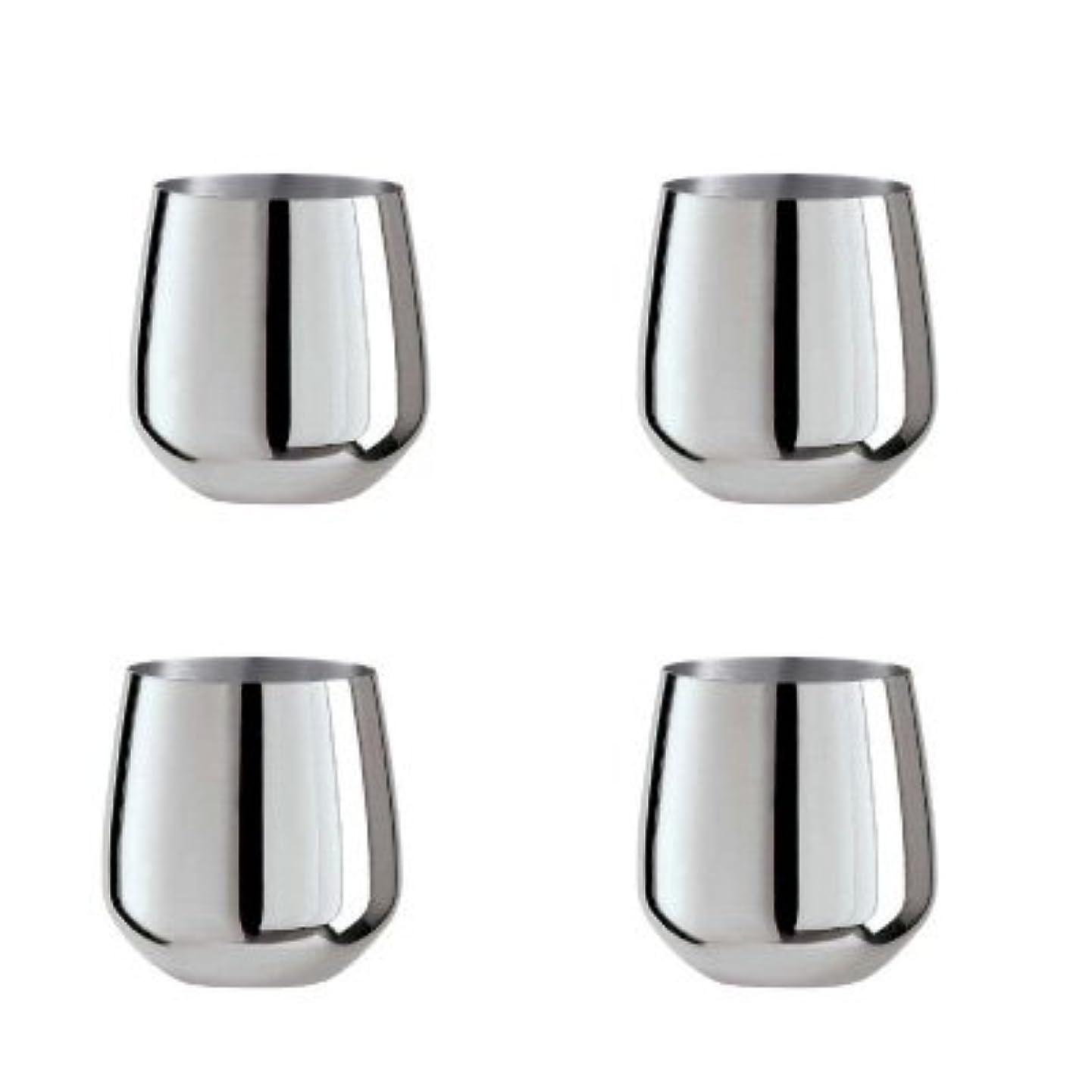 Oggi Set of 4 Stainless Steel Stemless Wine Glasses