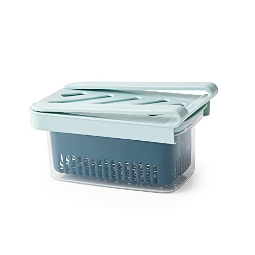 Caja De Drenaje Tipo Cajón De Refrigerador Extraíble, Caja De Almacenamiento Para Soporte De Estante De Refrigerador, Caja De Mantenimiento Fresco Con Canasta De Drenaje (Light blue)