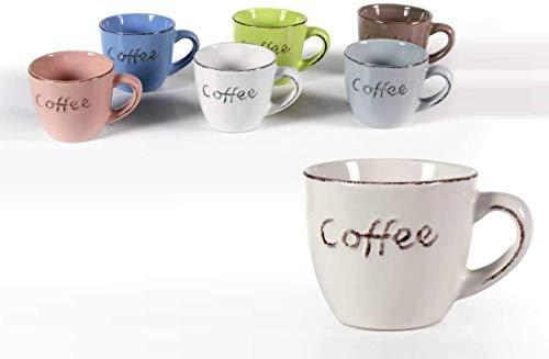 GICOS IMPORT EXPORT SRL Set 6 tazzine caffè Senza piattino capacità 100ML 5CM Colori Assortiti Decoro cofee SIZ-773914