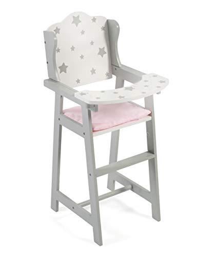 Chaise haute pour poupées - Gris - Motif étoiles - Pour poupées jusqu'à 46 cm
