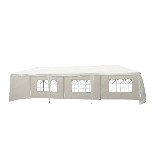 Outsunny Garden Gazebo Marquee Party Wedding Tent Canopy (Green,9m x 3m) - White