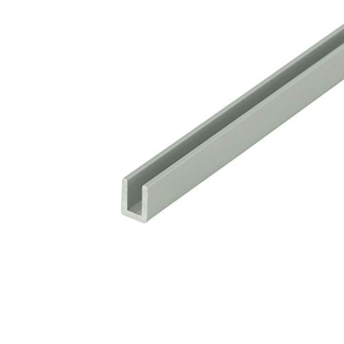 """Outwater Alu757-S Satin Finish 1/8"""" Inside Dimension Aluminum U-Channel/C-Channel 36 Inch Lengths (Pack of 4)"""