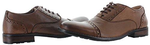 Steve Madden Mens Germain Round Toe Oxford Shoe, Tan Leather, US 8
