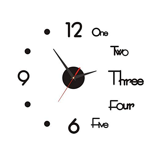 DIY Reloj de Pared,3D Relojes de Pared Espejo Pegatina,Reloj de Pared Silencioso Sin Marco,Reloj de Pared Sin Marco Acrílico,para Sala de Estar,Cocina,Dormitorio,Regalo de Decoración del Hogar(Negro)