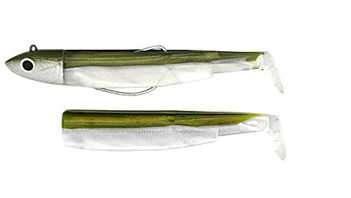 Fiiish, combo di 2 esche sanguinerole nere per pesca offshore, Khaki, No.2 - OFFSHORE - 10g