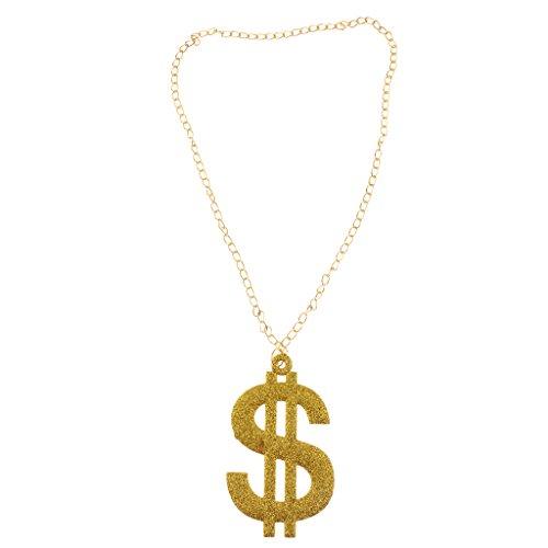MagiDeal Fantaisie Collier Chaîne Pendentif Symbole USD Dollar Paillette Pr Fancy Costume Party-Or