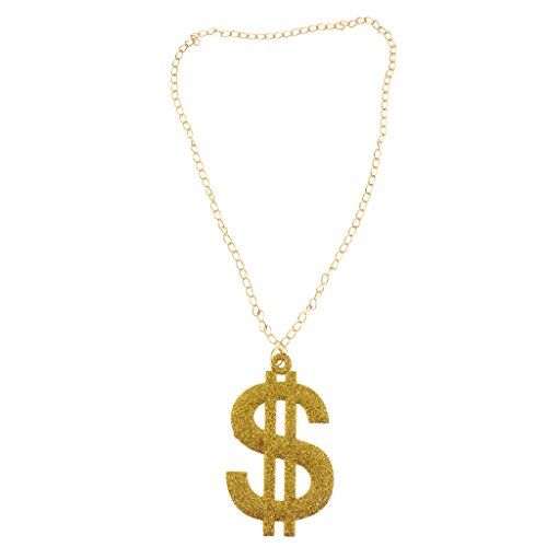 Colcolo DOLLAR $ Sign Pendant Necklace Long Chain Money Hip Hop Costume