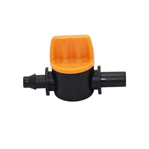 Válvula de riego en miniatura de 4/7 a 6 mm de grifo de 1/4 de la válvula de riego anti goteo de la boquilla adaptador de 50 piezas de herramientas de jardinería equipo de riego